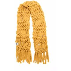 Handsome Badger - Women's Harley Scarf in Mustard (38.140 HUF) ❤ liked on Polyvore featuring accessories, scarves, print scarves, hand knitted shawl, thick scarves, tassel scarves and patterned scarves