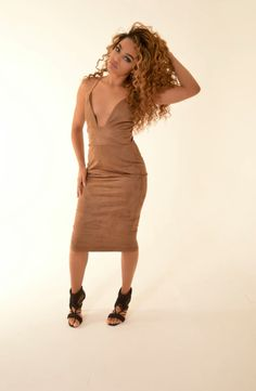 Camel suede midi dress. Use my discount code: alyshaxo for 25% off your order ✨  http://www.glitterboxclothing.com/products