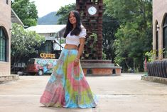 Boho Skirt / Maxi Skirt / Maxi Boho Skirt /Modest Skirt / Beach Skirt /Full Length skirt / Tie Dye Skirt/ Long Skirt Modest Skirts, Boho Skirts, Full Length Skirts, Beach Skirt, Beach Tops, Cotton Skirt, White Skirts, Boho Tops, Summer Looks