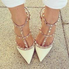 Check out the 26 stylish studded pumps high heels 2015 from this webpage! If you like to have some appealing and stylish pumps then in this post we are putti. Women's Shoes, Cute Shoes, Me Too Shoes, Shoe Boots, Beige Shoes, Shoes Style, T Strap Pumps, High Heel Pumps, Pumps Heels