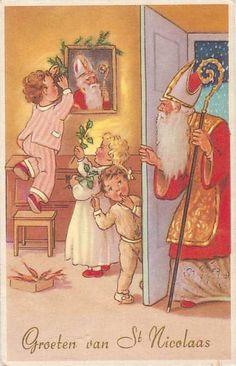 Antique Christmas postcard of Saint Nicholas. (Groeten van St.Nicolaas.)