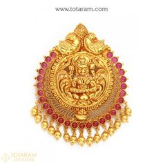 22K Gold 'Lakshmi' Pendant (Temple Jewellery) - 235-GP3201 - Buy this Latest Indian Gold Jewelry Design in 15.600 Grams for a low price of $925.99
