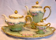 German Bavarian Heinrich Tea & Coffee Pot Set on Tray Hand Painted Pink Roses Artist Signed c 1972