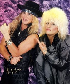 Bret Michaels and C C DeVille, glammed up for their hard rock band, Poison!