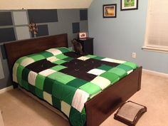 Minecraft bedding! I would do the walls in a different color...but I am impresses with the quilt!