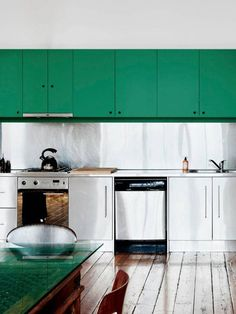 Remodeling Design Ideas: Unusual Combinations in the Kitchen | Love the bold cabinets!