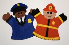 Look at these guys, how cute. Handmade Police Officer & Fireman Hand Puppet by FeltieDesigns on Etsy, check out the site, they have all kinds of other great puppets up there. You can buy one or many, the more you buy, the cheaper they are.
