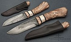 ... LAMINATED ALDER ... by Tomas Rucker. steel: hand forged laminated, 3layers, center 19191 length: 210mm handle: alder, bone, leather sheath: leather - cow