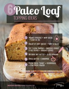 Some #EatClean #snack #inspiration to start the week off right! 6 topping ideas for my #grainfree #glutenfree #Paleo Loaf! #toscareno #eatcleandiet #eatingclean #cleaneating #avocado #applebutter #greekyogurt #hempseed #banana
