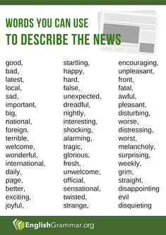 Words you can use to describe the news English Words, English Grammar, Vocabulary, Last News, Grammar Rules, Learning English, Journalism, Twitter Sign Up, Insight