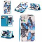 New Painted Leather Wallet Flip Case Cover W Stand For Apple iPhone 5 5S SE