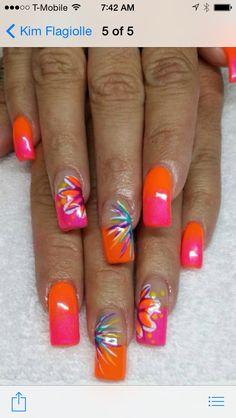 and pink summer nails - Summer Nail Purple Ideen Pink Summer Nails, Hot Pink Nails, Bright Nails, Fancy Nails, Spring Nails, Neon Nail Designs, Fall Nail Designs, Acrylic Nail Designs, Acrylic Nails