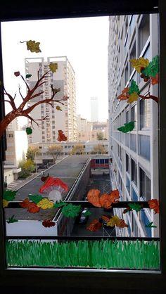Dessin automne fenêtre peinture