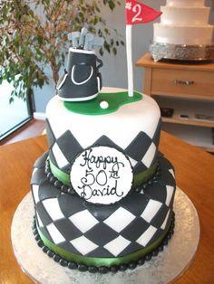 Fondant Covered Golf Theme 50th Birthday Cake