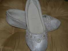 Wedding White Flats Vegan Shoes hand sewn pearls by NewBrideCo,