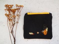 Waxed Canvas  Handmade Hand Painted Small Clutch Bag Waxed Canvas Pencil Case  Small Makeup Bag