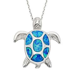 """Beaux Bijoux 925 Sterling Silver Created Blue Opal Nautical Sea Turtle Pendant Necklace 18"""" Bithstone Jewelry for Women"""