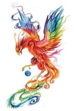 Phoenix Drawing, Phoenix Art, Phoenix Painting, Tatoo Art, Body Art Tattoos, Tatoos, Wing Tattoos, Tattoo Bird, Color Tattoo