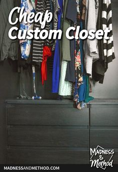 Looking for a cheap custom closet?  Using two Ikea dressers, a hanging bar and a shelf, we created the perfect closet organization solution for our needs. Ikea Dresser, Dressers, Closet Storage, Closet Organization, Ikea Delivery, Ikea Pax Wardrobe, No Closet Solutions, Laundry Room Inspiration, Hanging Bar