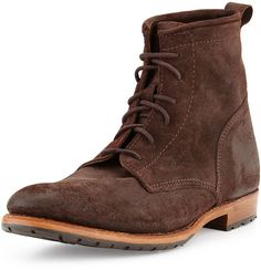$345, Dark Brown Suede Boots: Walk-Over Walkover Rutherford Suede Lace Up Boot Dark Brown. Sold by Neiman Marcus. Click for more info: https://lookastic.com/men/shop_items/115038/redirect