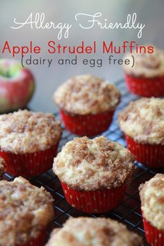 Egg free, dairy free apple strudel muffins.