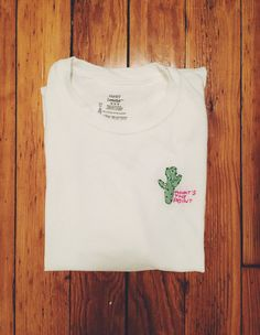 Love the hand #embroidery! #cactus #etsy #funny #embroideredtee #shirt #casual #trend