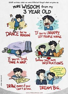 More Wisdom from my 3 Year Old. Yet another awesome comic from PHD Comics by Jorge Cham! Cowboy Draw, Phd Humor, Phd Comics, Take A Nap, Inner Child, Inspire Me, Make Me Smile, Growing Up, Children