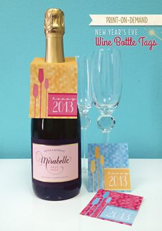 Printable New Year's Eve Wine Bottle Tags