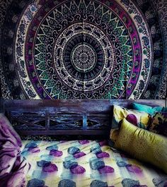 Mesmerizing medallion tapestry crafted in soft woven cotton. Instantly adds a unique touch of boho charm to any living space or dorm room. Doubles as a beach o