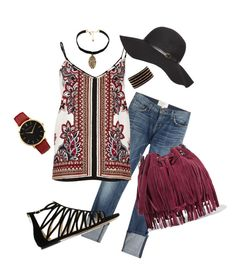 """Bohemian Vibe"" by heather767 on Polyvore featuring Current/Elliott, River Island, Dorothy Perkins, Jimmy Choo, Rebecca Minkoff, Vanessa Mooney, Larsson & Jennings and Chan Luu"