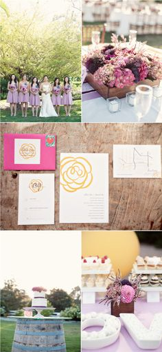The flower design on the invites was featured throughout the wedding in different color schemes. On menu cards, escort cards, wedding programs, etc. Love the beautiful purple flowers in wooden boxes and mason jars.