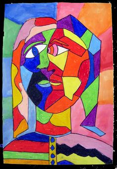 Students studied the artist Pablo Picasso and his use of color and cubism. Students then sketched themselves using mirrors and combined two images (profile & front view) of themselves in one portrait. Students then used line to create interesting shapes (cubism) within their faces. Students colored each shape with oil pastels and then finshed them by watercoloring the background.