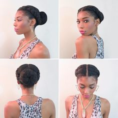 Two Dutch braids into a bun protective natural hairstyle for winter