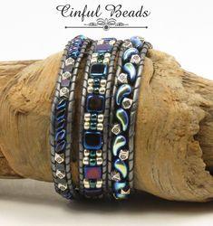 TRIPLE LEATHER WRAP Bracelet-Boho Leather Wrap-Superduo Leather Wrap-Boho Wrap-Bohemian Bracelet-Hippie Bracelet-Zoliduo Bracelet-(TW28C) by CinfulBeadCreations on Etsy