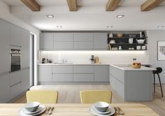 Ideas Small Kitchen Remodel Layout Shape White Cabinets For 2019 Modern Grey Kitchen, White Gloss Kitchen, Grey Kitchens, Modern Kitchen Design, Interior Design Kitchen, Home Kitchens, Grey Kitchen Diner, Modern U Shaped Kitchens, Kitchen Black