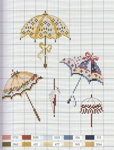 Umbrellas and parasols cross stitch chart - Trousse de mouchoirs