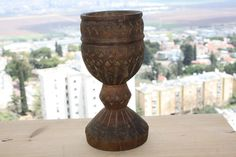 Nicolae Popa Wooden Goblet Signed Hand Carved Ornate Romanian Europe Antique Rar