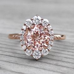 Peach Sapphire Engagement Ring with Diamond Halo (2.15ct) #DazzlingDiamondEngagementRings #engagementring #engagementrings