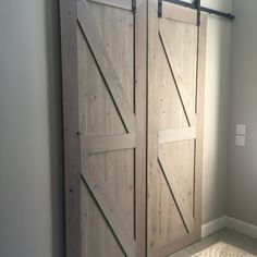 We love how these doors turned out. The light driftwood stain gives them a modern touch but still lets the character of the wood stand out!