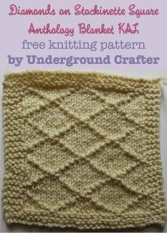 Diamonds on Stockinette Square, free #knitting pattern by Underground Crafter | Anthology Blanket KAL