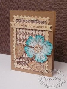 Card with stamped and colored flower