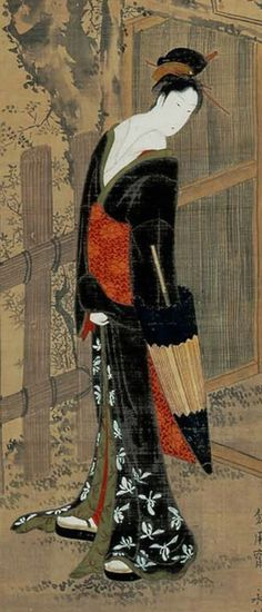 Woman standing in front of a gate in the rain. Main detail of a hanging scroll; ink and color on silk, 1789-1804, Japan. Artist Rekisentei Eiri. °