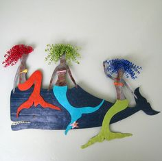 $495 Metal Mermaid and Whale Wall Sculpture