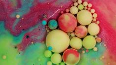Beautiful Beads of Color That Form From the Mixture of Common Ingredients Under a Macro Lens