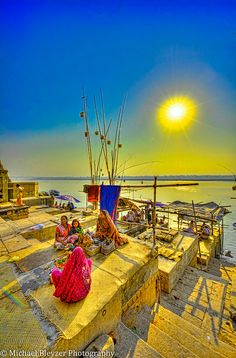 Ganges Gals Yellow Sun of Varanasi by mbfirefly on Flickr