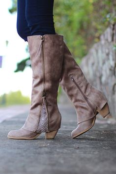 Not Rated: Lace Insert Boots {Taupe}