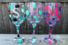 Personalized Wine Glass for birthdays, bachelorette , wedding, bridal by ahindle78 on Etsy https://www.etsy.com/listing/104108403/personalized-wine-glass-for-birthdays
