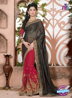 SC 13074 Black and Red Jacquard and Georgette Party Wear Designer Saree #bollywood designer party wear sarees #party wear sarees online #designer party wear sarees online