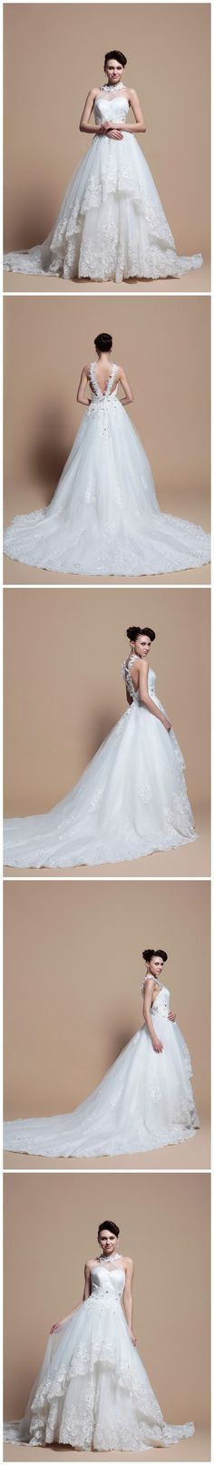 Princess Halter Neck With Two Layer Wedding Dress