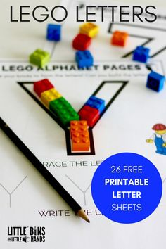LEGO Letter activity printable pages for kids. Build, trace, and write letters to practice the alphabet with LEGO. Great for preschool and kindergarten age kids.